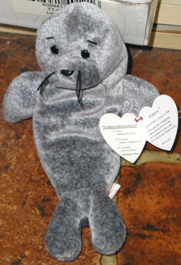 eb356423064 Ty Slippery the retired gray seal beanie baby plush
