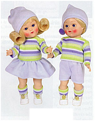 VOG2185 Vogue 2004 Ginny Binky, Bunky Vintage Repro Dolls in Blue