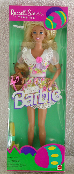 MAT0299B Russell Stover Candies Barbie Doll Floral Dress Easter 1995