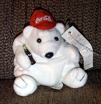 CCB0001 Coca Cola Polar Bear Red Baseball Hat Bean Bag 1997