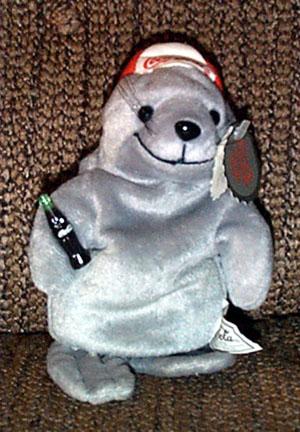 CCB0002 Coca Cola Seal Backwards Baseball Hat Bean Bag 1997