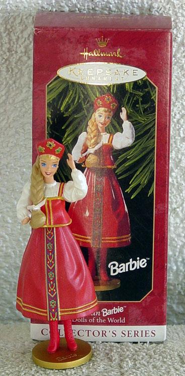 BHO0961 1999 Hallmark Russian Barbie Doll Ornament