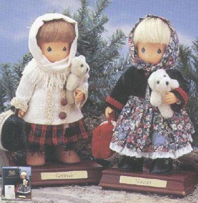 PMC0260 Precious Moments Co. Gertrude and Natasha Wood Dolls 1997
