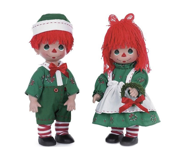 PMC0759E Precious Moments Raggedy Wishes Holiday Girl, Boy Doll Set