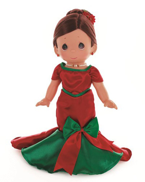 PMC1012 Precious Moments Brun. Dancing Into the Christmas Spirit Doll