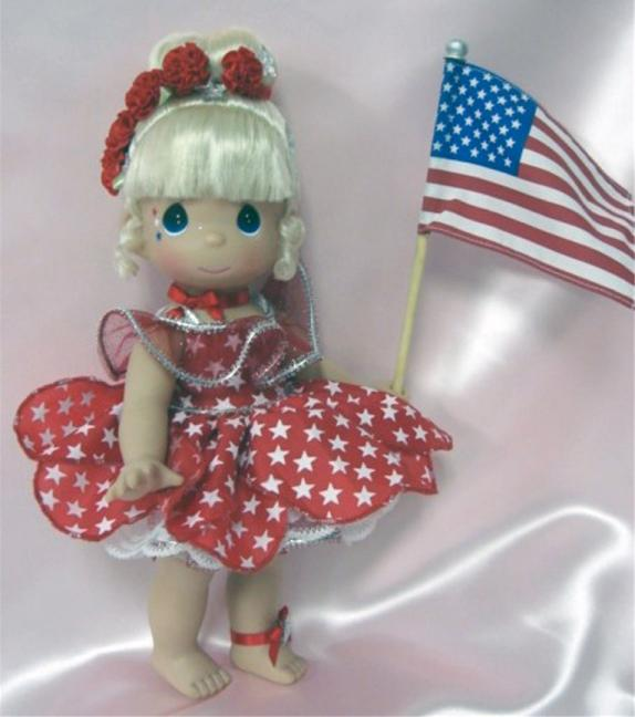PMC0688B Precious Moments Star Spangled Tinker Bell Doll 2010