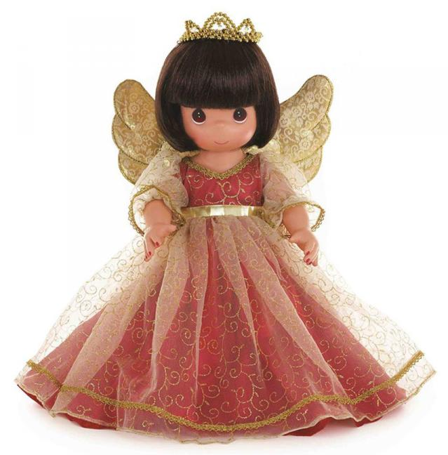 PMC1018 Precious Moments Brunette Christmas Memories Angel Doll