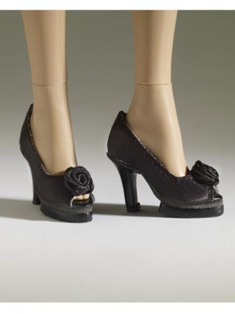 TNM0072 Tonner Nu Mood Black Satin High Heel 5 Doll Shoes 2012