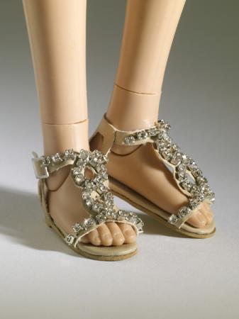 TNM0074 Tonner Nu Mood Beige, Rhinestone Flat 1 Doll Shoes 2012