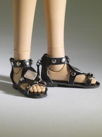 TNM0075 Tonner Nu Mood Black Sandals Flat 2 Doll Shoes 2012