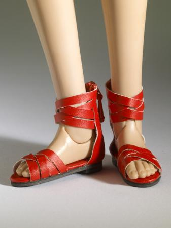 TNM0078 Tonner Nu Mood Red Sandals Flat 4 Doll Shoes 2012