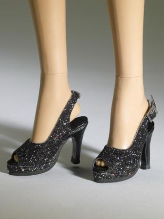 TNM0079 Tonner Nu Mood Black Sparkle High Heel 7 Doll Shoes 2012