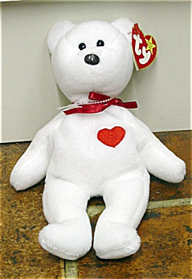 0TBB0087 Ty Valentino White Bear with Red Heart Beanie Baby b4db34f90a8c