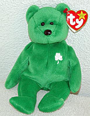 3464e2936bf 0TBB0104 Ty Erin Emerald Green Irish Bear Beanie Baby 1998-1999