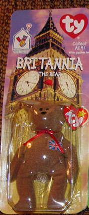 TBB0200A Ty Teenie Beanie Baby Britannia British Bear, McDonald's 1999