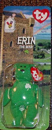 TBB0200B Ty Teenie Beanie Baby Erin Irish Bear, McDonald's 1999
