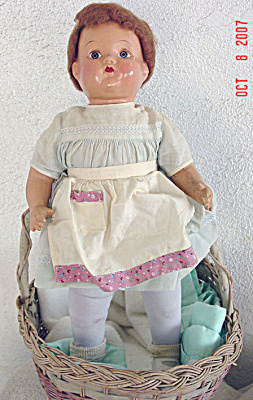 COM0001 Vintage Composition and Stuffed Antique Baby Doll